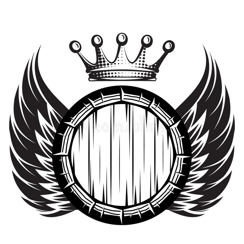 Vector monochrome illustration with cask, wings and crown.  royalty free illustration