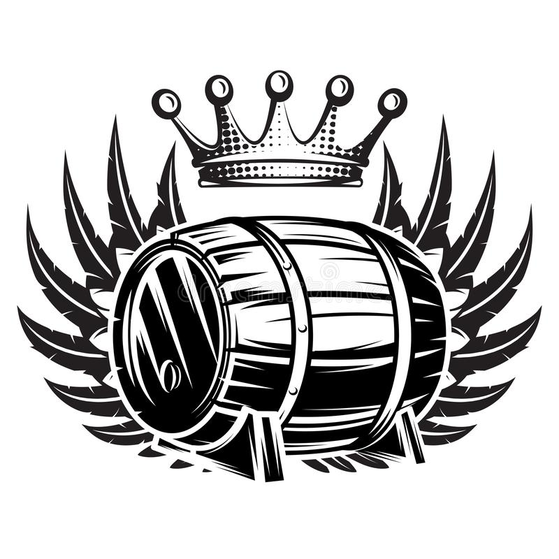 Vector monochrome illustration with cask, wings and crown.  stock illustration