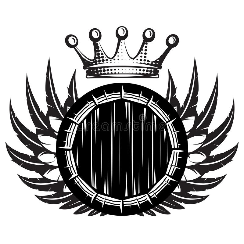 Vector monochrome illustration with cask, wings and crown.  vector illustration