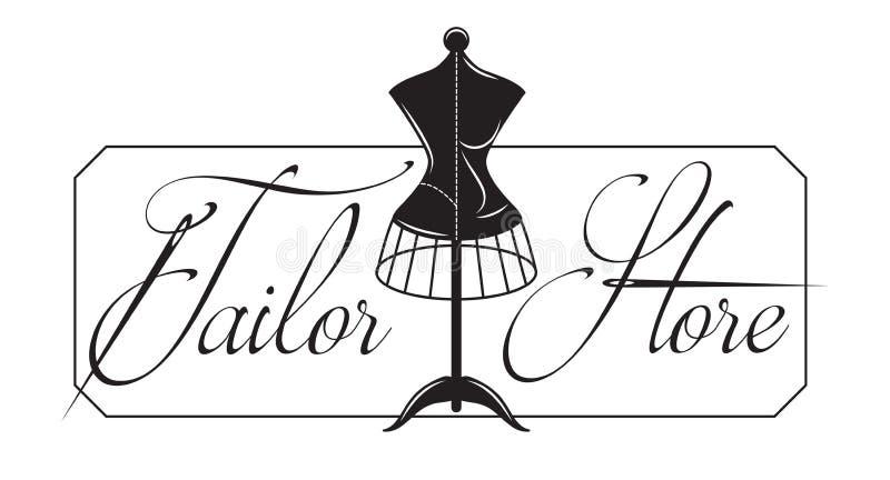 Vector monochrome illustration for design showcase tailor shop.  stock illustration