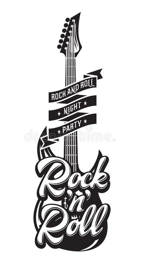 Vector monochrome illustration with guitar, tape and text.  vector illustration