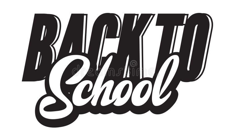 Vector monochrome illustration with lettering inscription back to school.  stock illustration