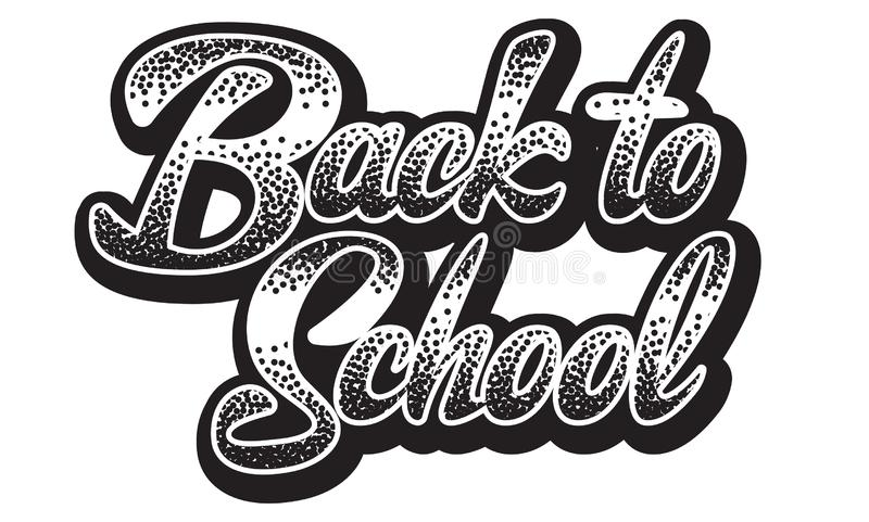 Vector monochrome illustration with lettering inscription back to school.  royalty free illustration