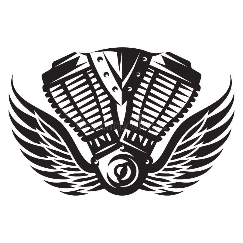 Vector monochrome illustration of motorcycle engine. For design vector illustration