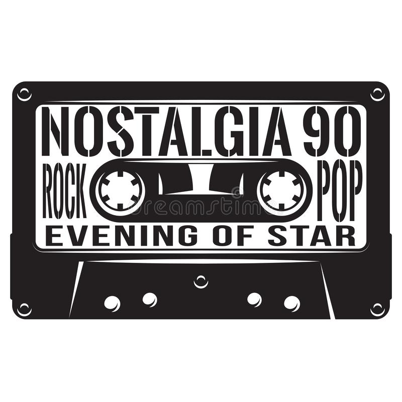 Vector monochrome illustration in retro style on a musical theme.  vector illustration