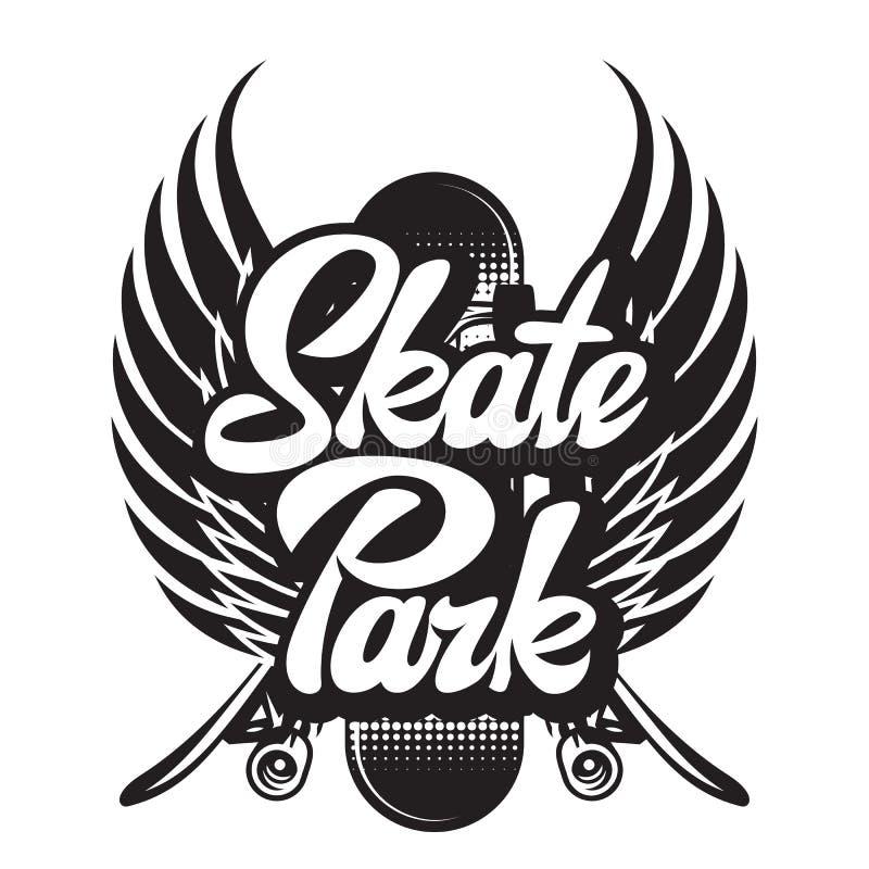 Vector monochrome illustration on skateboarding with calligraphic inscription.  vector illustration