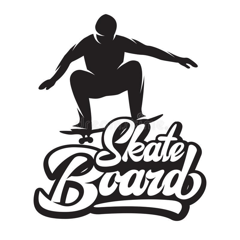 Vector monochrome illustration with skater and skateboard in jump.  stock illustration
