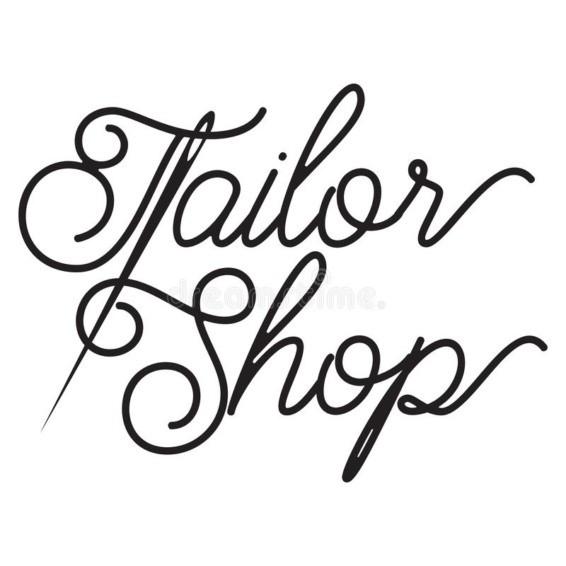 Vector monochrome illustration on the theme of tailoring.  royalty free illustration