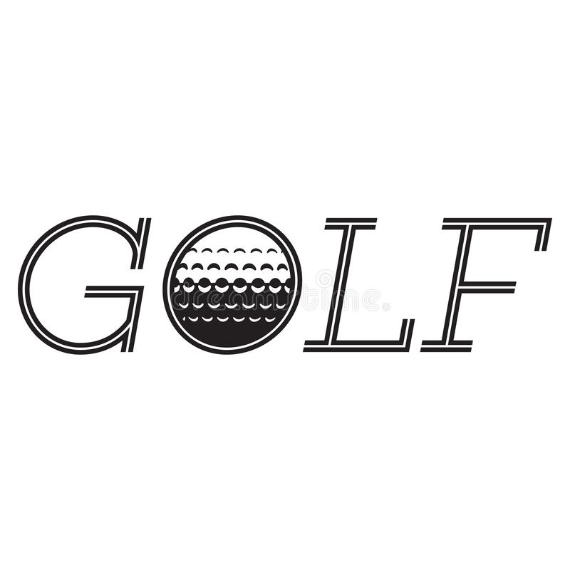 Vector monochrome inscription golf with a built-in ball.  vector illustration