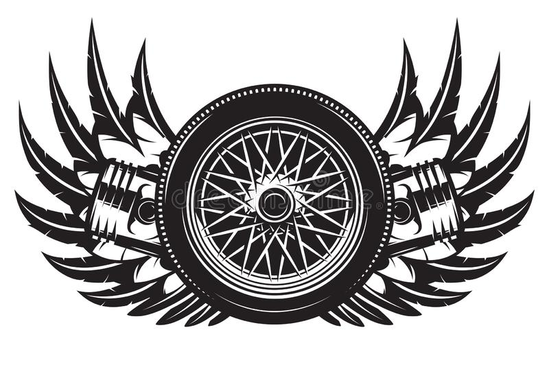 Vector monochrome pattern with wheel, wings and pistons royalty free illustration