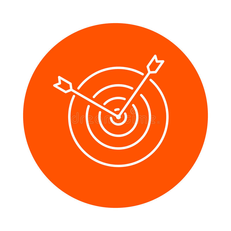 Vector monochrome round icon of two arrows sticking out of the center of the target, flat style royalty free illustration