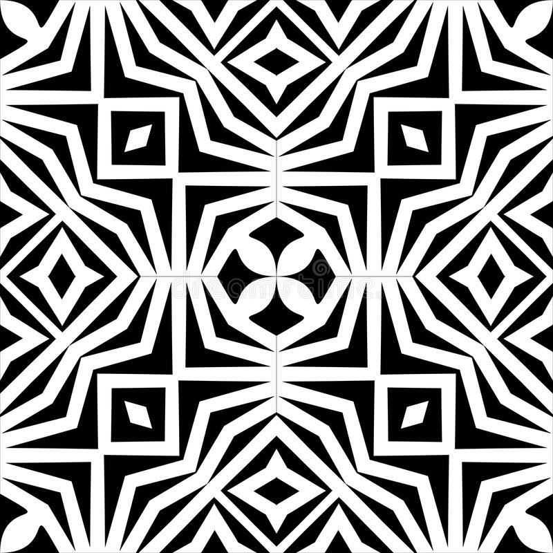 Vector monochrome seamless pattern, abstract geometric floral ornament texture royalty free illustration