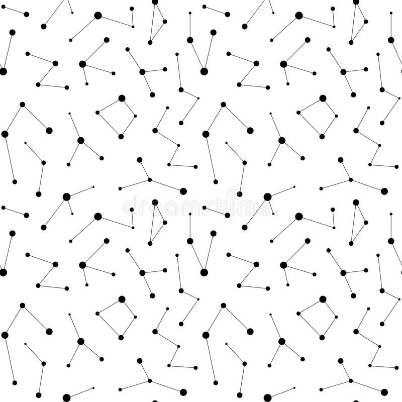 Vector monochrome seamless pattern, constellation abstract background royalty free illustration