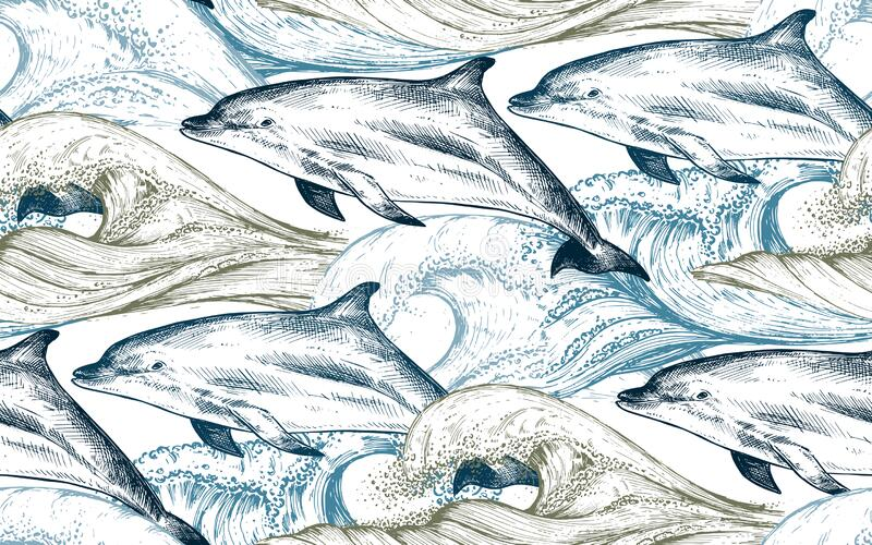 Vector monochrome seamless pattern with ocean waves and dolphins in sketch style stock photos