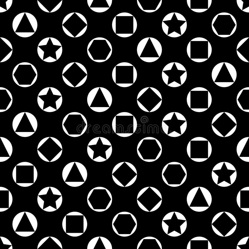 Vector monochrome seamless pattern, simple dark texture with geometric figures, circles rings, black white abstract vector illustration