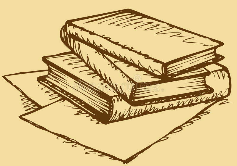 Notebook And Pen Sketch Stock Vector Art More Images Of: Vector Monochrome Sketch. Stack Of Books Stock Vector