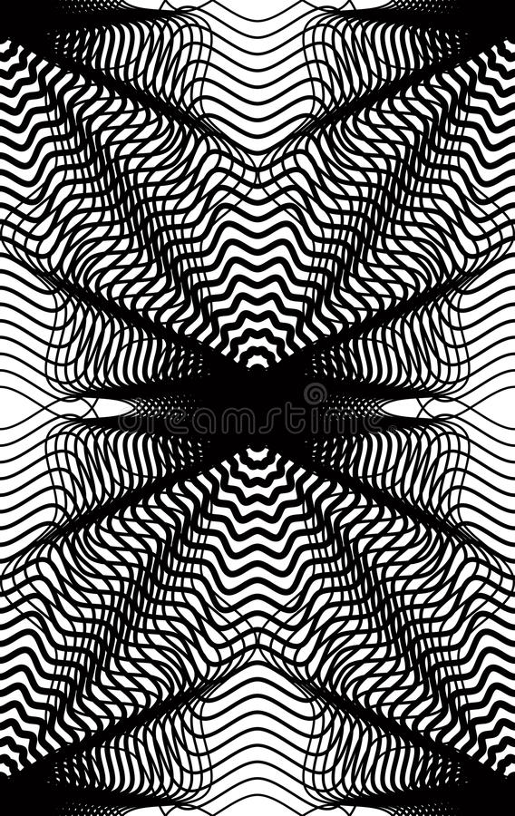 Vector monochrome stripy illusive endless pattern, art continuous geometric background with graphic lines and geometric figures. vector illustration