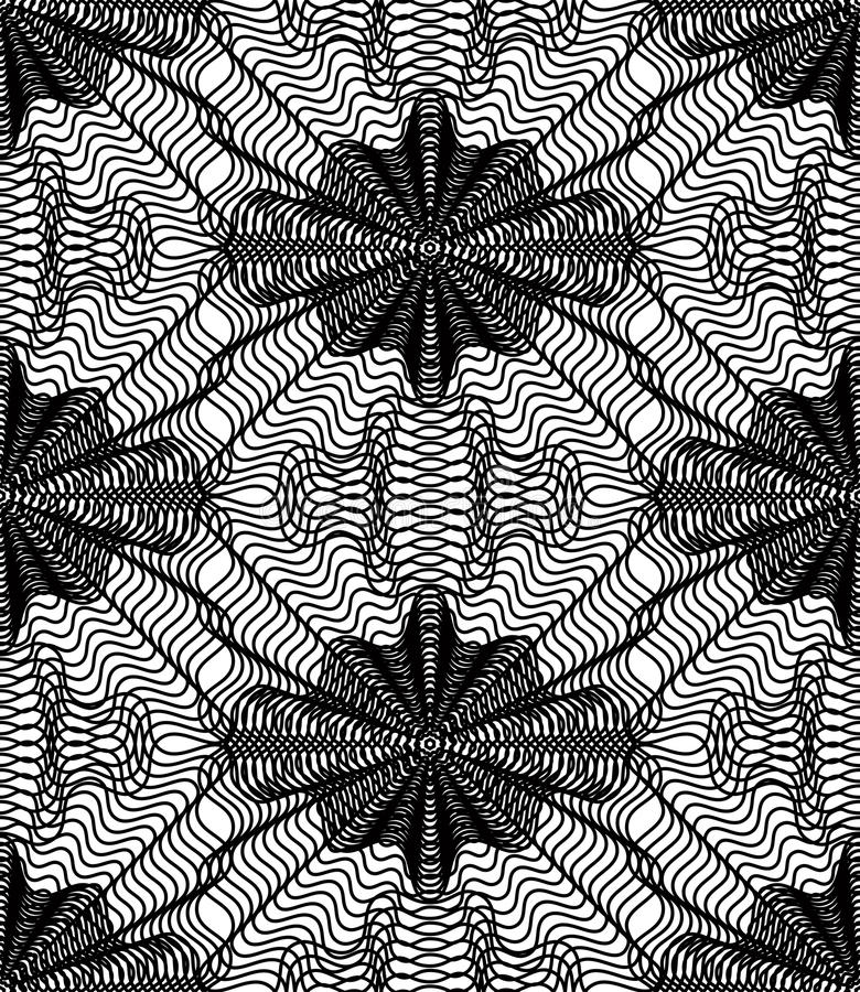 Vector monochrome stripy illusive endless pattern, art continuous geometric background with graphic lines and geometric figures. royalty free illustration
