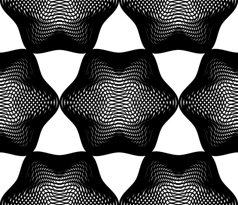 Vector monochrome stripy illusive endless pattern, art continuous geometric background with graphic lines and geometric figures. stock illustration