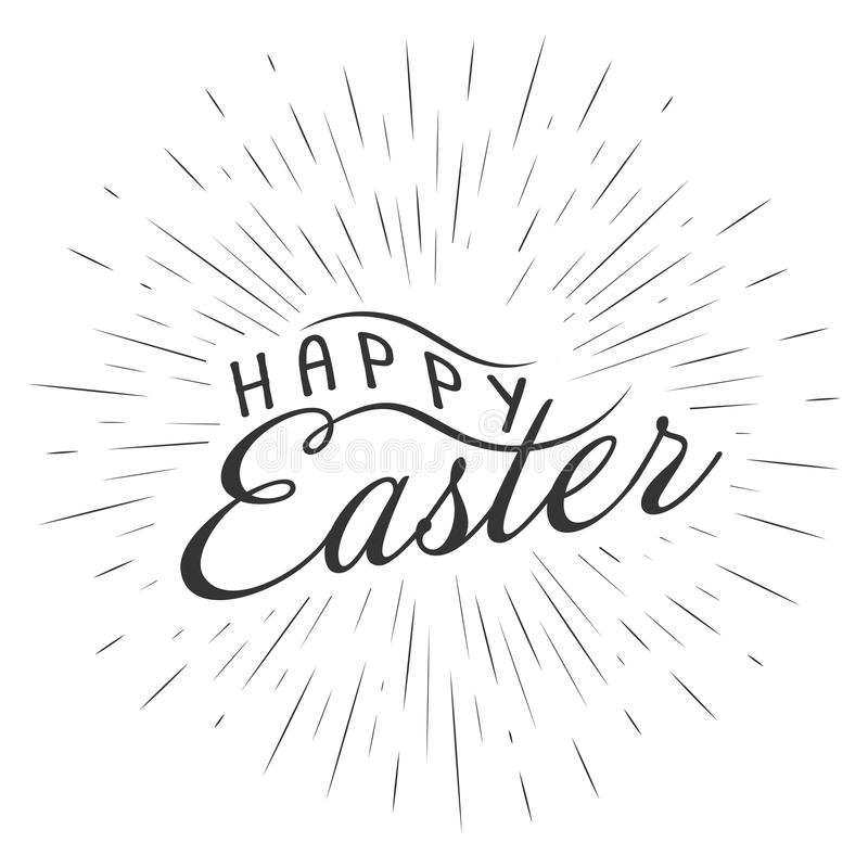 Vector monochrome text lettering Happy Easter with rays of burst for greeting cards, posters logo. Isolated on white royalty free illustration