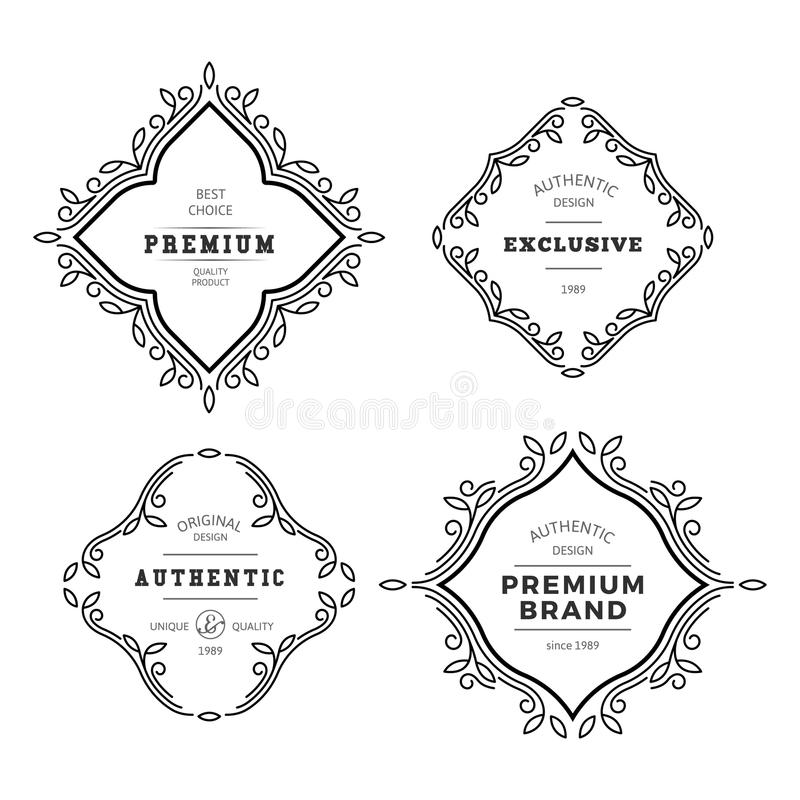Vector Monogram Decorative Frame. Vintage Linear Flourishes Elegant Ornaments. Classic Template Elements for Labels, Emblems, Logos and Package Design royalty free illustration