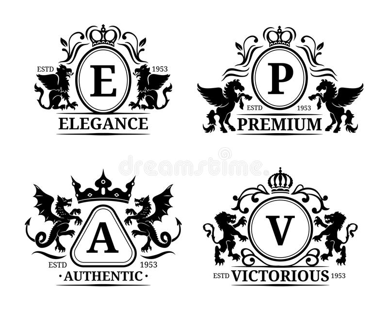 Vector monogram logo templates.Luxury letters design.Graceful vintage characters with animals silhouettes illustrations. royalty free illustration