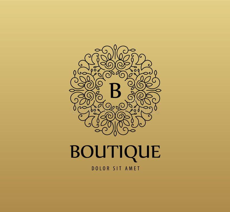 Vector monogram luxury linear logo, company icon. Decorative frame for Restaurant Menu, Hotel, Jewelery stock illustration