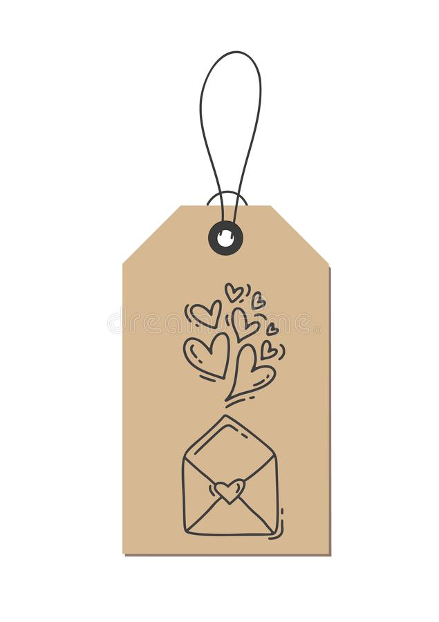 Vector monoline calligraphy flourish hearts and envelope about Love on kraft tag. Isolated Valentines Day Hand Drawn vector illustration