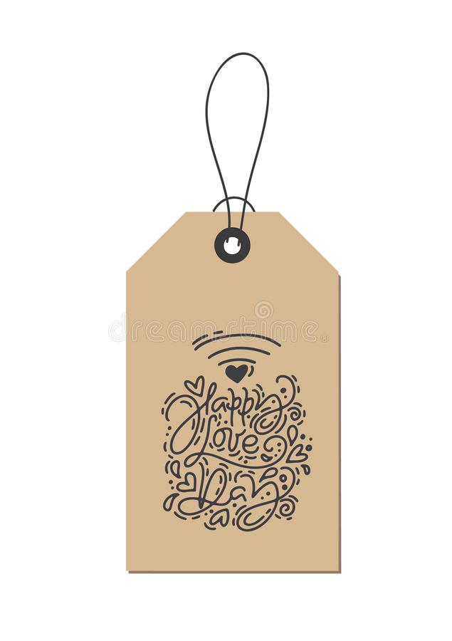 Vector monoline calligraphy phrase Happy Love Day wifi on kraft tag. Isolated Valentines Day Hand Drawn lettering stock illustration