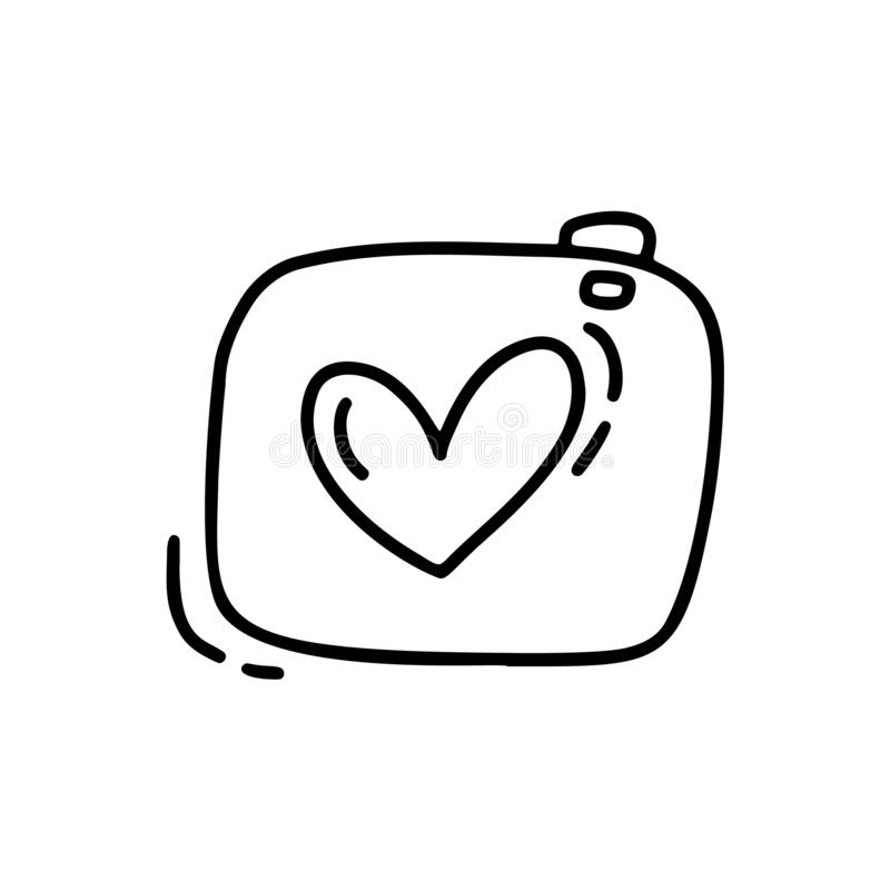 Vector monoline cute camera. Valentines Day Hand Drawn icon. Holiday sketch doodle Design element valentine with Heart stock illustration