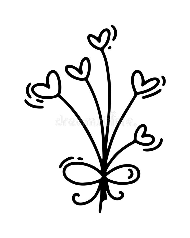 Vector monoline flowers with hearts. Valentines Day Hand Drawn icon. Holiday sketch doodle Design plant element vector illustration