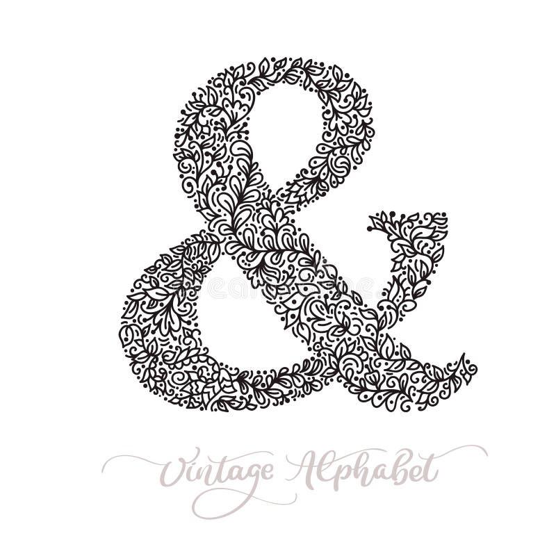 Vector monoline sign - ampersand. Vintage logo monogram Concept Icon. Black ink hand drawn illustration isolated on vector illustration