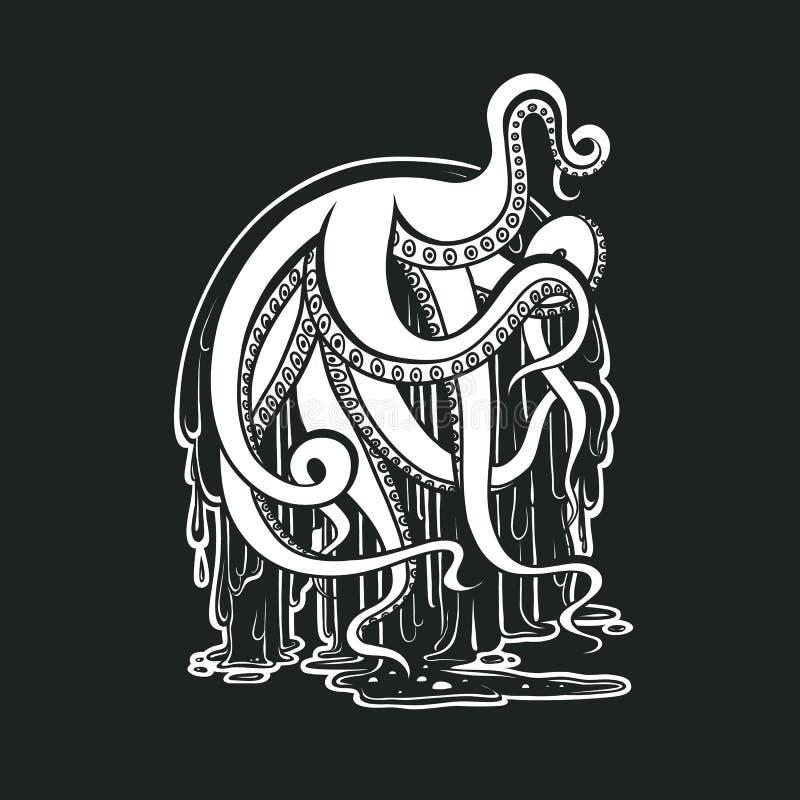 Vector monster octopus tentacles flow slime. Logo for Halloween. Drawing creepy cephalopod mollusk illustration print. Art on black background vector illustration