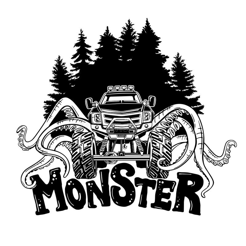 Vector Monster truck with tentacles of the mollusk and forest landscape. Mystical animal car tattoo. Adventure, travel. Outdoors art symbols. 4x4. Off Road royalty free illustration