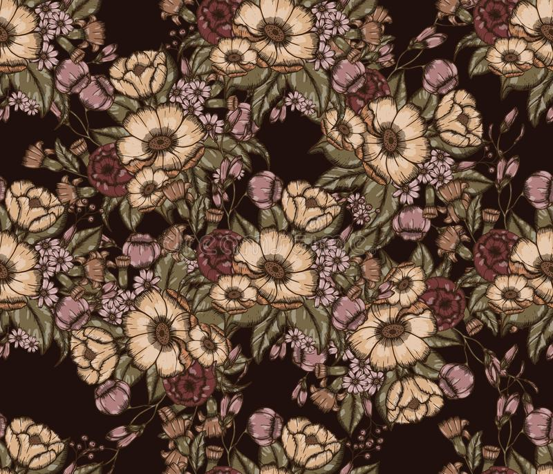 Vector Moody Florals seamless pattern. Design. Hand drwawing flowers. EPS10 illustration vector illustration