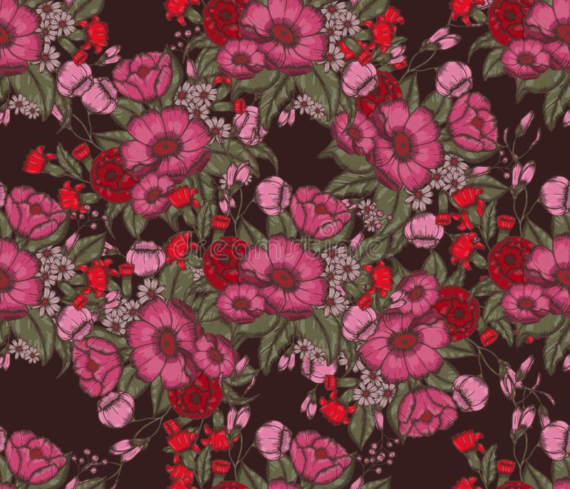 Vector Moody Florals seamless pattern. Design. Hand drwawing flowers. EPS10 illustration stock illustration