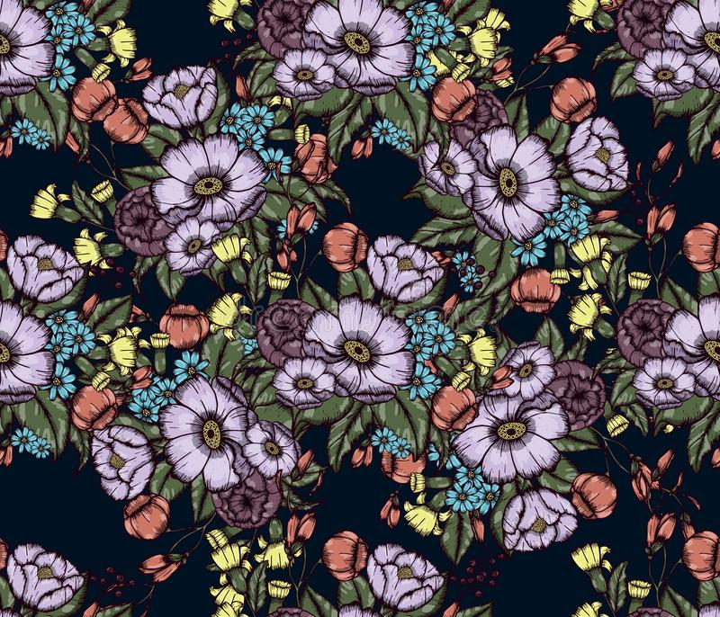 Vector Moody Florals seamless pattern. Design. Hand drwawing flowers. EPS10 illustration royalty free illustration