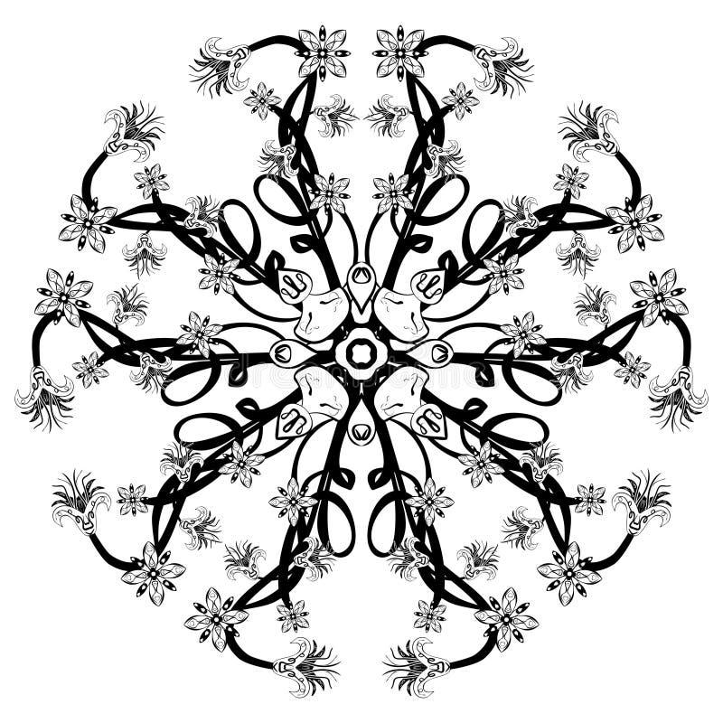 Vector Mooi Deco Zwarte Bloemenmandala stock illustratie