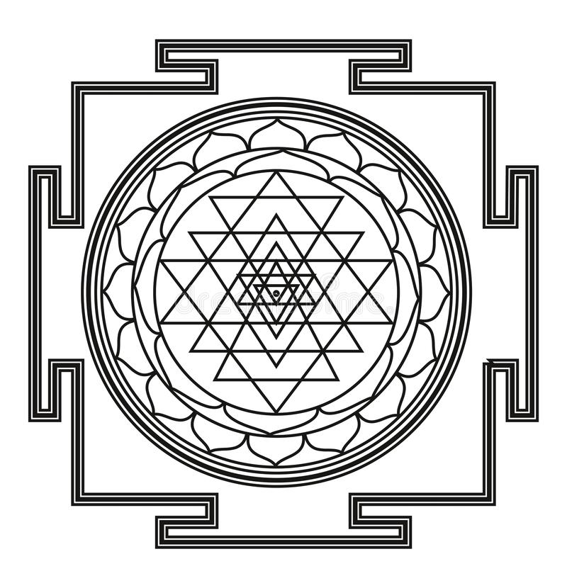 Vector Mooi Deco Zwarte Mandala royalty-vrije illustratie