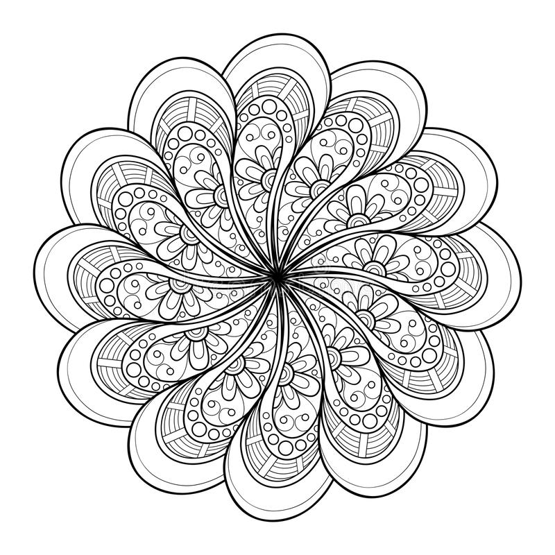 Vector Mooi Deco Zwarte Mandala stock illustratie