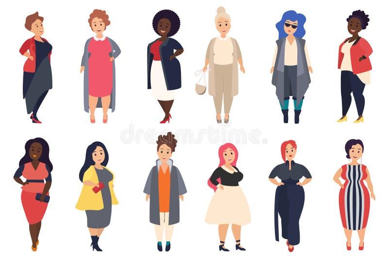 Vector Mooi en modieus plus grootte, curvy vette vrouwen in modieuze vrijetijdskleding plaatst geïsoleerd vector illustratie