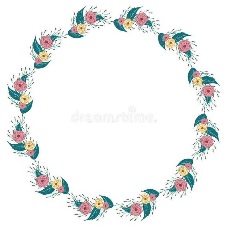 Vector mooi het ornamentpatroon van de kadercirkel van bloemen royalty-vrije illustratie