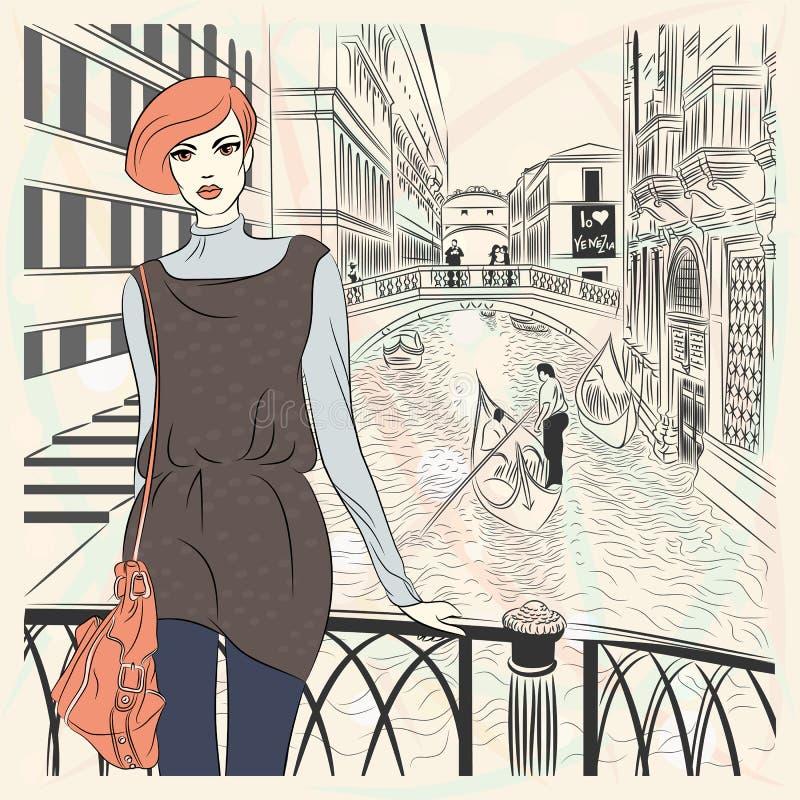 Vector mooi maniermeisje op een achtergrond van Venetië vector illustratie