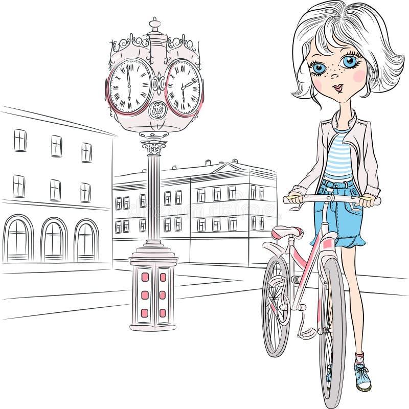 Vector mooi meisje met bloemen in Parijs vector illustratie