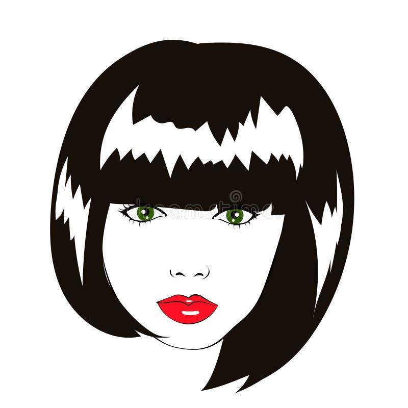 Vector mooi vrouwengezicht met loodjeskapsel, embleem royalty-vrije illustratie