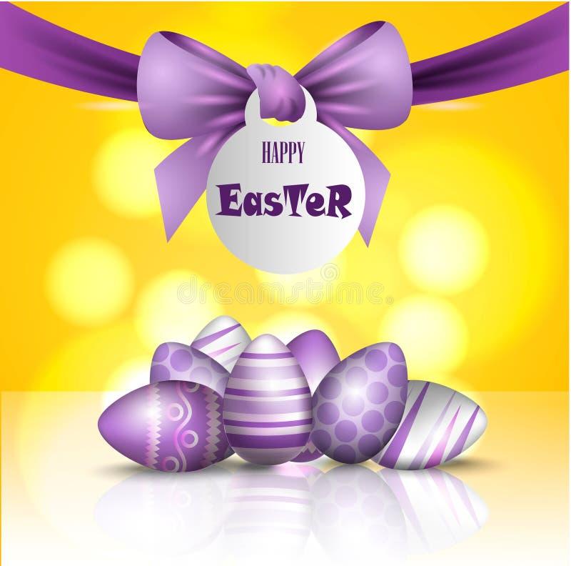 Vector mooie 3d illustratie Geschilderde eieren en boog in verrijzenis van de vakantie van Christus Pasen, royalty-vrije illustratie