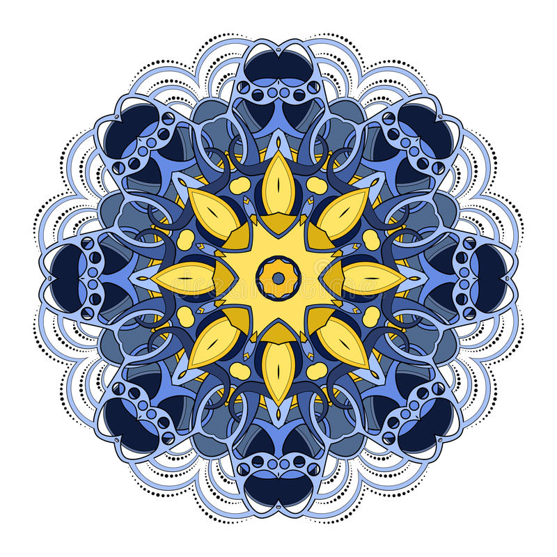 Vector Mooie Deco Gekleurde Mandala stock illustratie
