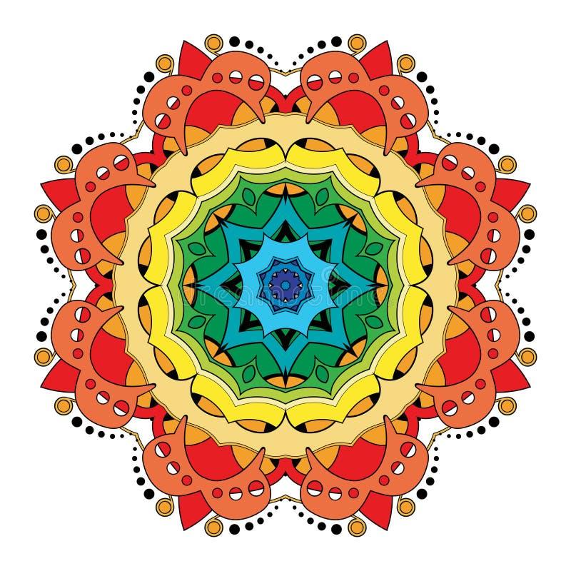 Vector Mooie Deco Gekleurde Mandala royalty-vrije illustratie