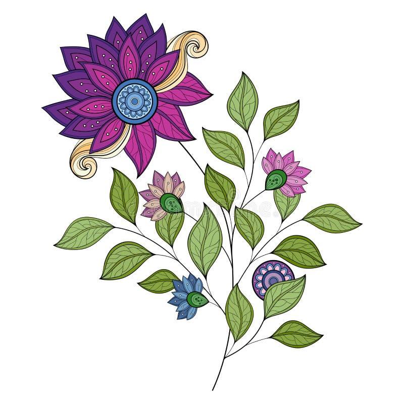 Vector Mooie Gekleurde Contourbloem stock illustratie
