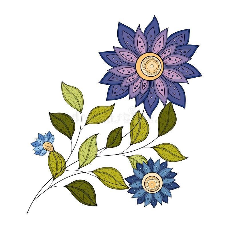 Vector Mooie Gekleurde Contourbloem royalty-vrije illustratie